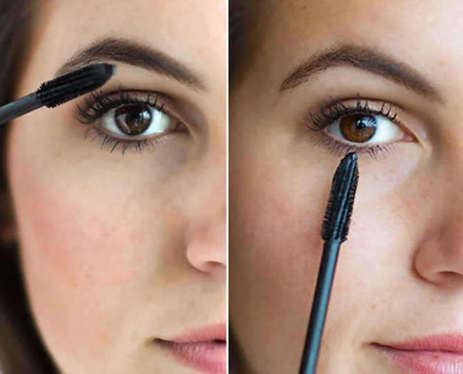 "**Apply mascara the right way.**   Make your eyelahses longer and fulller by wiggling the applicator back and forth as you apply mascara to the top lashes. Then turn the brush vertically to precisely apply mascara to your bottom lashes.    Get the tutorial [here.](http://www.cosmopolitan.com/style-beauty/beauty/advice/a6990/eyelash-mascara-hacks/|target=""_blank"")"