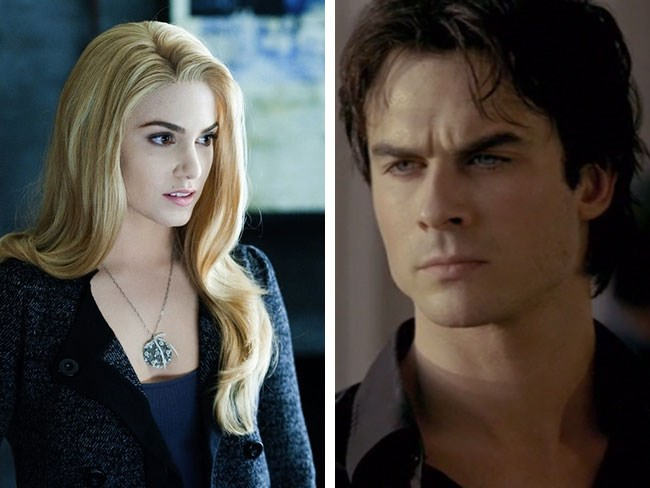 **Rosalie Cullen from *Twilight* and Damon Salvatore from *The Vampire Diaries*** Ah, the vampire crossover of ~dreams~