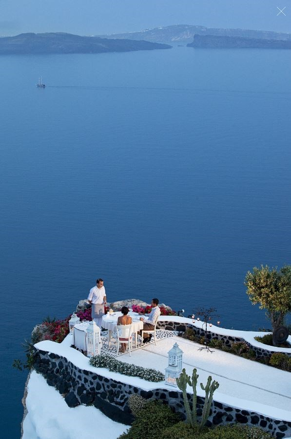 "**SANTORINI   **During that same Greek expedition, the family also jumped over to the breathtakingly beautiful island of Santorini, where they stayed at the [Andronis Luxury Suites](http://www.andronisexclusive.com/en/Andronis-Luxury-Suites-727.htm|target=""_blank"") in Oia. You may recognise this terrace as it's one of the most famous outdoor eating areas in the world!"