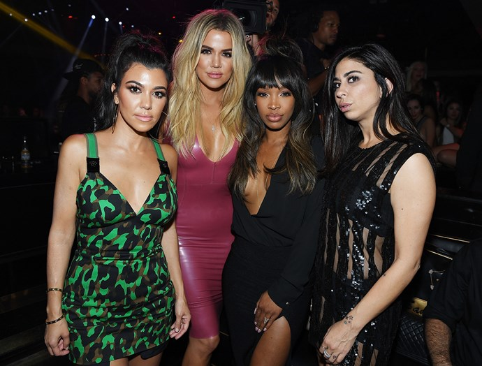 Kourtney and Khloe with friends Malika Haqq and Courtenay Semel.