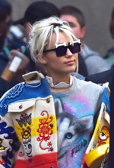 Miley's given her hair a milky blast.