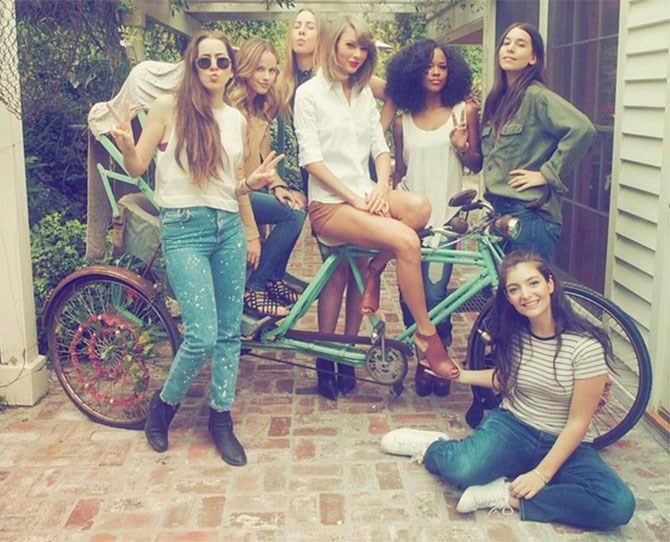 **April 2015** Calvin totally took this picture of Tay's #squad during a vegan cookout they hosted. The relationship wasn't confirmed yet but we were onto them...