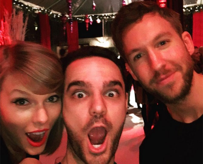 **December 2015** Taylor celebrates her 26th sans squad with Calvin. <3