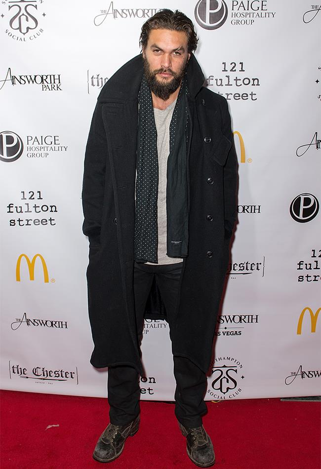 Winter is coming, and so is Jason Momoa's winter coat and scarf.