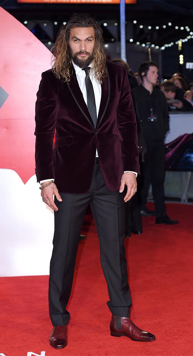 It was all about crushed velvet and an enviable balayage at the *Batman V Superman: Dawn of Justice* premiere, where his next big character, Aquaman makes a brief appearance.