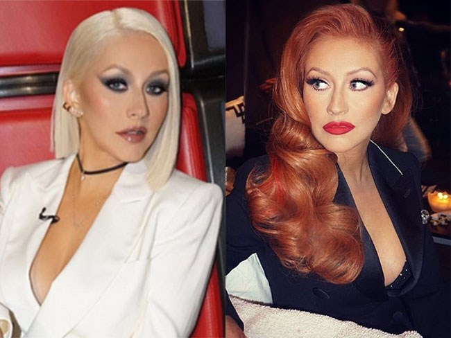 Christina Aguilera looks actual FIRE as a redhead. Jessica Rabbit much?