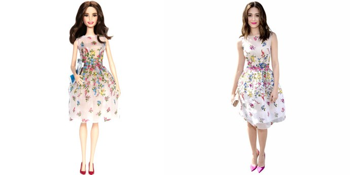 **EMMY ROSSUM**   In which we literally cannot tell IRL Emmy Possum apart from her Barbie doll.