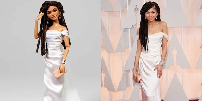 """**ZENDAYA**   How much do you love the fact that Mattel chose Zendaya's Oscar beauty look for her Barbie? A powerful statement to those who criticised the actress' decision to wear her hair in locks for the red carpet.    *[SOURCE: US COSMOPOLITAN](http://www.cosmopolitan.com/entertainment/g5843/celebrities-with-barbie-dolls/