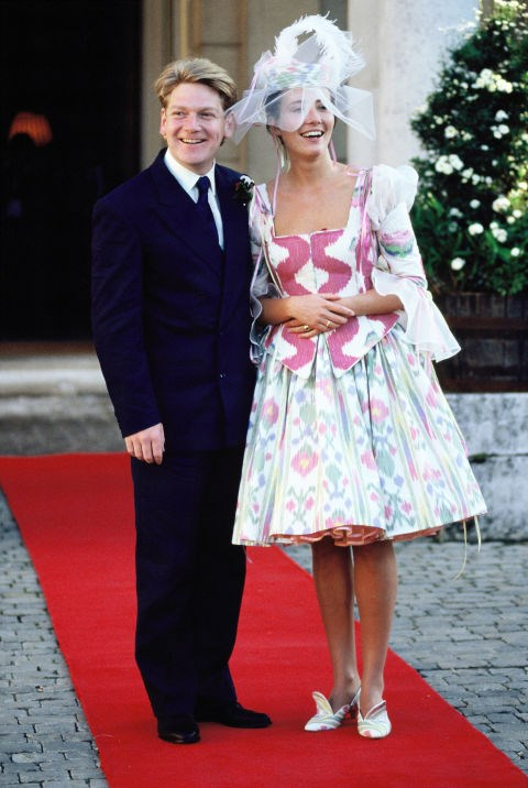 """**1989: EMMA THOMPSON**   When Emma Thompson married Irish actor Kenneth Branagh in 1989, it's unlikely that anyone expected her to walk down the aisle in a multicoloured dress featuring a squiggly pink bodice. To be fair to Emma Thompson, the [late '80s and early '90s](http://www.goodhousekeeping.com/beauty/fashion/g2803/bad-90s-style-fashion-trends/