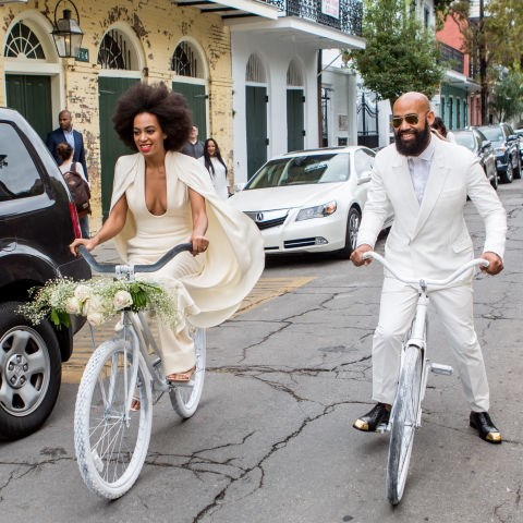 """**2014: SOLANGE KNOWLES**   What better way to celebrate your nuptials than by wearing an outfit you can actually move around in? That's exactly what Solange Knowles did on her way to marry music video director Alan Ferguson in New Orleans on November 16, 2014. Her look was totally stunning, yet super comfy — she could even ride a bike in it!    *[SOURCE: US COSMOPOLITAN](http://www.cosmopolitan.com/style-beauty/g5844/most-scandalous-wedding-dresses/