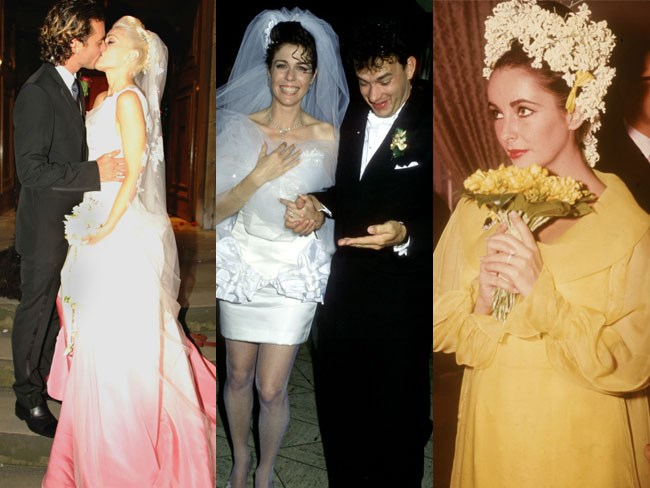 From Bianca Jagger's low-cut skirt suit to Gwen Stefani's ombré pink gown, the world has seen a *lot* of wild wedding dresses.