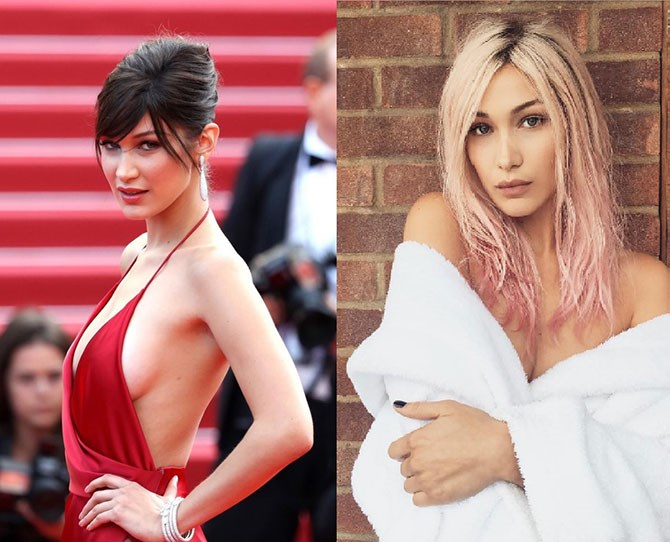 Bella Hadid just bleached her signature brown hair a combination of blonde and pastel pink for a shoot in London and the resemblance to Gigi is INSANE.