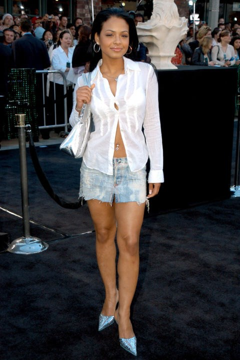 **SPLIT-BOTTOM TOPS**    *Christina Milian at the premiere of The Matrix Reloaded on May 7, 2003.*