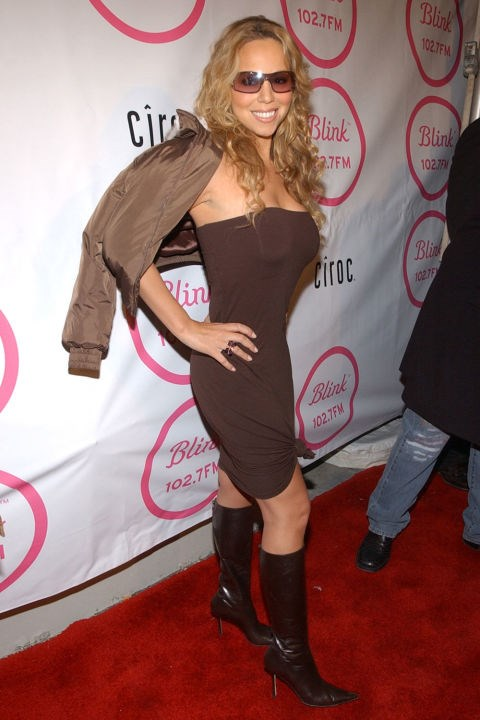 **POINTY BELOW-THE-KNEE BOOTS**  *  Mariah Carey at the launch party for Blink 102.7 on April 10, 2003.*