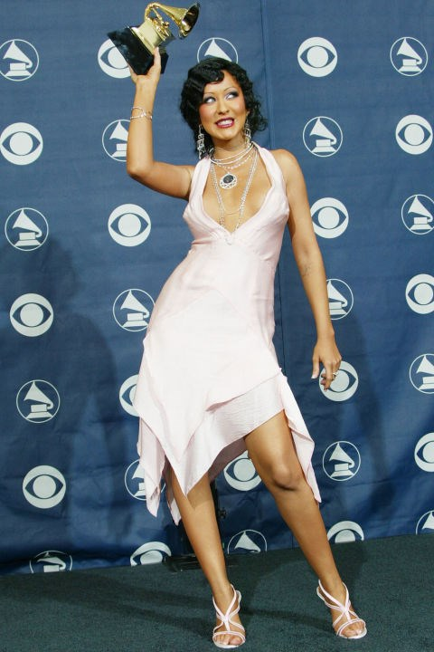 **HANDKERCHIEF HEMS**    *Christina Aguilera at the Grammy Awards February 8, 2004.*