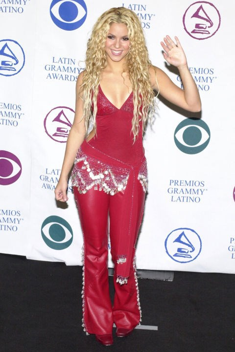 **RED LEATHER PANTS**    *Shakira at the Latin Grammy Awards on September 13, 2000.*
