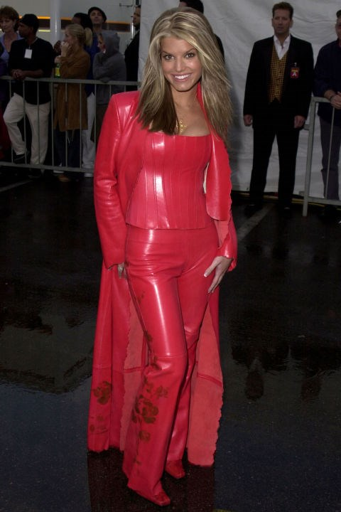 **RED LEATHER PANTS**    *Jessica Simpson at the American Music Awards on January 8, 2001.*