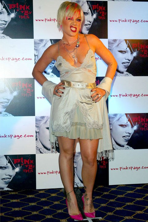 "**LACY SLIP DRESSES**    They were pretty much just lingerie.    *P!nk at a promotional event for her album ""Try This"" on November 4, 2003.*"