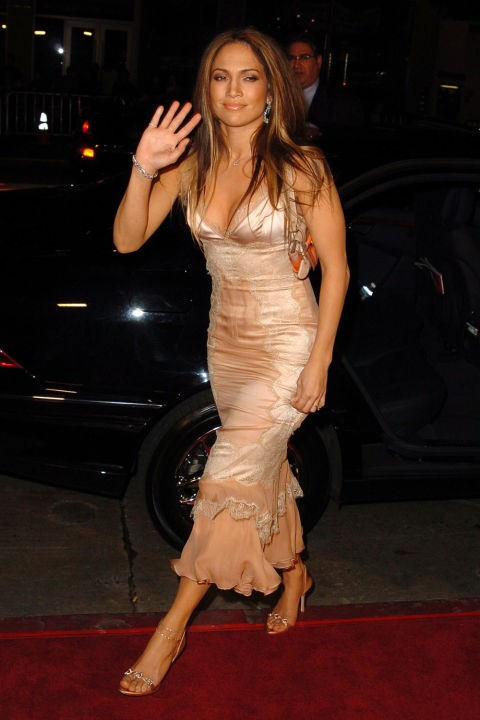 "**LACY SLIP DRESSES**    *Jennifer Lopez at the Premiere of ""Paycheck"" on December 18, 2003.*"