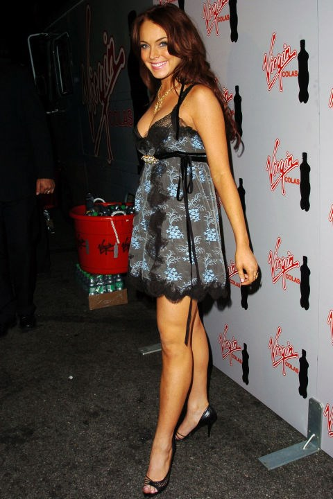 **LACY SLIP DRESSES**    *Lindsay Lohan at an MTV Movie Awards after party on June 5, 2004.*