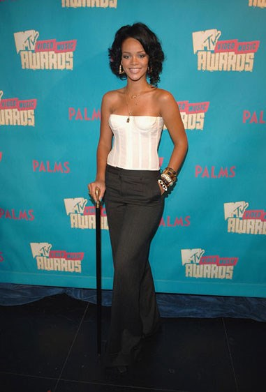 7. Yep. Corset time! This one Rihanna accessorised with a handy walking stick.