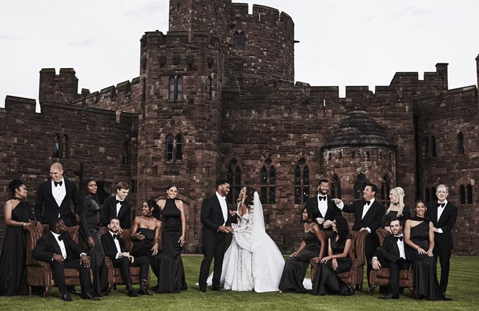 Ciara and Russell Wilson got hitched in true fairytale style inn an English castle on Wednesday, and among their many, many bridesmaids were Kelly Rowland and Lala Anthony. Serena Williams had to pull out at the last minute as she was busy slaying Wimbledon. The black, custom bridesmaid dresses were Michael Costello, and also chic.