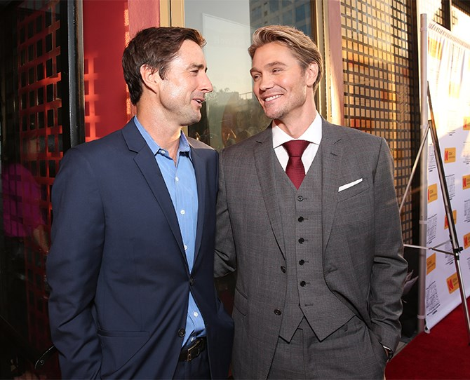 And here he is bro-ing out with co-star Luke Wilson. Who, come to think of it, has also been off the scene for a while. Thanks for the blast from the past, boys!