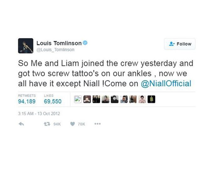 """**9. One Direction (except Niall Horan because he's scared of needles)** via [@Louis_Tomlinson](https://twitter.com/Louis_Tomlinson/status/257061947114135553 target=""""_blank"""")"""