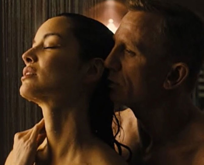 **3. The shower sex in *Skyfall.*** I don't mean to pick on *Skyfall,* because really, any movie that purports shower sex as a viable and effective method of getting it on is equally as guilty. I guess director Sam Mendes cut out the parts when one person is getting all the water while the other stands, shivering, out of range, or when someone slips on the tiles, or when they use shampoo and the bottle makes a fart noise.