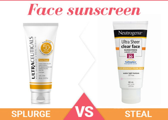 """**1. Face sunscreen** Splurge: [Ultraceuticals SunActive SPF50+ Face Cream](http://www.beautyheaven.com.au/body-health/suncare/42144-ultraceuticals-sunactive-spf50-face-creamv target=""""_blank""""), $49 Give your skin the max protection from the sun's harmful UVA and UVB rays for hours on end. As well as containing SPF 50 sun protection, this formula features antioxidants to help shield your skin from damaging free radicals. Steal: [Neutrogena Ultra Sheer Clear Face Lotion SPF30](http://www.beautyheaven.com.au/body-health/suncare/product/clear-face-spf30 target=""""_blank""""), $16.99 On your next trip to the supermarket, pop this protecting beauty into your trolley. It boasts SPF 30 sun protection, a smooth, oil-free formula so it won't leave you with a greasy sheen, and best of all, it's easy on the wallet. Win!"""