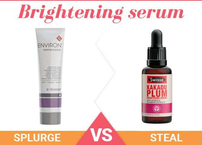 """**2. Brightening serum** Splurge: [Environ Evenescence C-Boost](http://www.beautyheaven.com.au/skin-care/sun-damage-pigmentation/12729-environ-skincare-evenescence-c-boost target=""""_blank""""), $103 If your skin's looking a little lacklustre during the day, keep this rich, brightening serum in your desk drawer to give your complexion a much-needed hydration boost and glow. Steal: [Swisse Kakadu Plum Brightening Serum](http://www.beautyheaven.com.au/skin-care/moisturisers/product/kakadu-plum-brightening-serum target=""""_blank""""), $29.99 Formulated to help keep dark spots and uneven skin tone at bay, this brightening beauty will not only protect your skin from discolouration, but also help your skin look instantly brighter and healthier."""