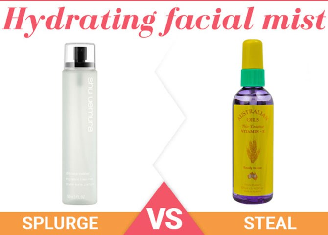 """**3. Hydrating facial mist** Splurge: [Shu Uemura Depsea Water Facial Mist](http://www.beautyheaven.com.au/skin-care/toners-spritzers-mists/40698-shu-uemura-depsea-water-facial-mist target=""""_blank""""), $46 Not only is this lush, super hydrating mist the perfect pick-me-up to spritz on dry, parched skin throughout the day, but its packaging will look sleek and stunning on your desk or vanity, too. Steal: [Australian Bio Essence Vitamin E Oil](http://www.beautyheaven.com.au/skin-care/moisturisers/product/vitamin-e-oil target=""""_blank""""), $11.99 Vitamin E is essential for keeping skin nourished and replenished, so this inexpensive oil mist will make the perfect addition to your daily skin care routine. Simply spritz it over your skin for a refreshed and hydrated complexion in seconds."""