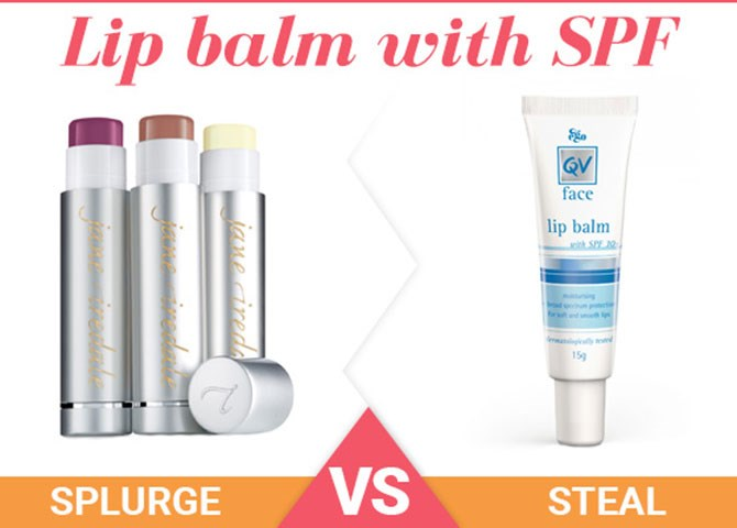 """**5. Lip balm with SPF** Splurge: [jane iredale LipDrink SPF 15 Lip Balm](http://www.beautyheaven.com.au/make-up/lips-lipstick-lip-gloss-lip-balm/4751-jane-iredale-mineral-makeup-lipdrink-lip-balm-spf-15 target=""""_blank""""), $32 Forget dry, chapped lips – let your pout soak up the nourishing and replenishing benefits of this lip balm rich in avocado, carrot seed and lemon peel oils, as well as blackberry and green tea leaf extract for added protection and hydration. Steal: [QV Lip Balm](http://www.beautyheaven.com.au/skin-care/lip-care/22302-qv-face-qv-lip-balm-spf-30- target=""""_blank""""), $5.05 Pop this hydrating balm on your lips throughout the day to give them an instant and long-lasting injection of hydration. It's suitable for sensitive skin and has the added bonus of SPF 30+ sunscreen protection.   Source: [Beauty Heaven](http://www.beautyheaven.com.au/skin-care/lip-care/splurge-steal-skin-essentials target=""""_blank"""")"""