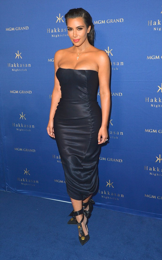 Kim kept things chic and sophisticated at a Vegas club appearance on July 23. Kween.