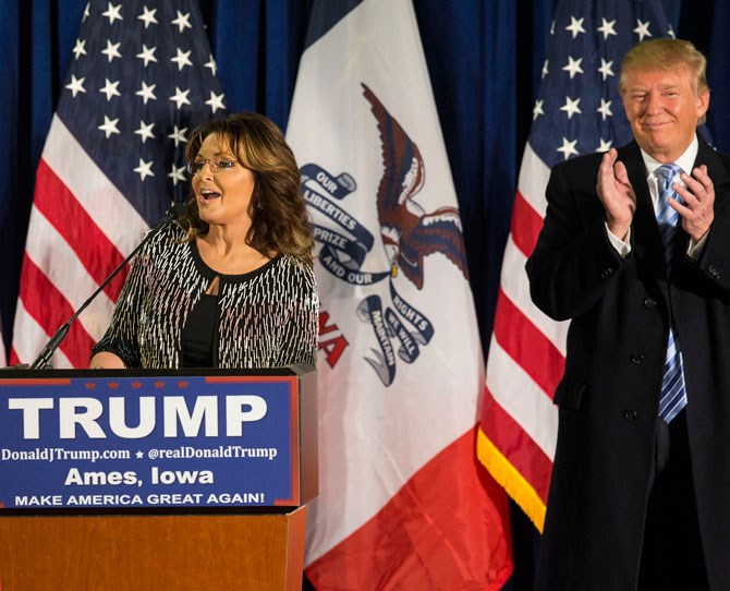 "**Sarah Palin** Former Governor of Alaska Sarah Palin endorsed Trump earlier this year during a [speech](http://www.nytimes.com/2016/01/20/us/politics/donald-trump-sarah-palin.html?_r=1|target=""_blank"") asking the folk of Iowa 'Are you ready for a commander-in-chief who will let our warriors do their job and go kick ISIS' ass? Ready for someone who will secure our borders, to secure our jobs, and to secure our homes?' Making the biggest statement of all, Palin continues asking 'Ready to make America great again, are you ready to stump for Trump? I'm here to support the next president of the United States, Donald Trump.'"