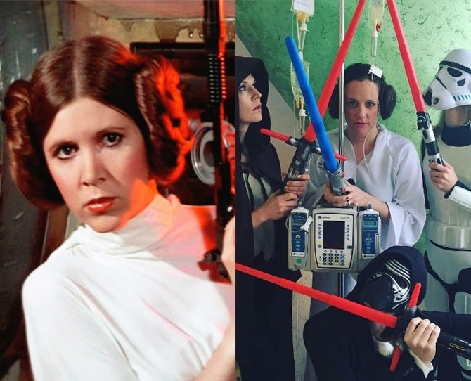 "**2. Star Wars** ""It's a little silly, but it's fun! I suppose I'm comfortable with it because I'm an actress, but really anyone can do it,"" Karen tells Cosmopolitan.com. ""I just enjoy the distraction."" Um, us too Karen. Us too.   Can we all just take a second to appreciate how ON POINT her Princess Leia is?"