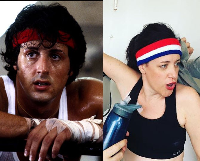 "**4. Rocky Balboa** ""I've never thought of playing any of these roles,"" Karen says. ""I just like the characters... some face adversity, or just want some chocolate, but all with determination and focus."""