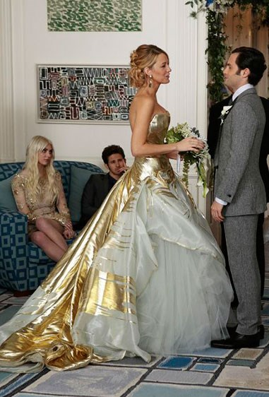**Serena van der Woodsen - *Gossip Girl*** Okay, so the reason Serena was our main source of fashion inspo for a solid five years can be summed up in this one dress. Granted, while we only saw it in the season finale flash-forward when she ties the knot with lonelyboy Dan Humphreys, the gold-gilded ballgown number is still the dress of our goddamn dreams.