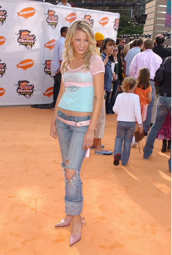 A baby faced Blake! *Naw* Back in 2005, a young Blake Lively hit the red carpet wearing this pastel and denim combo.