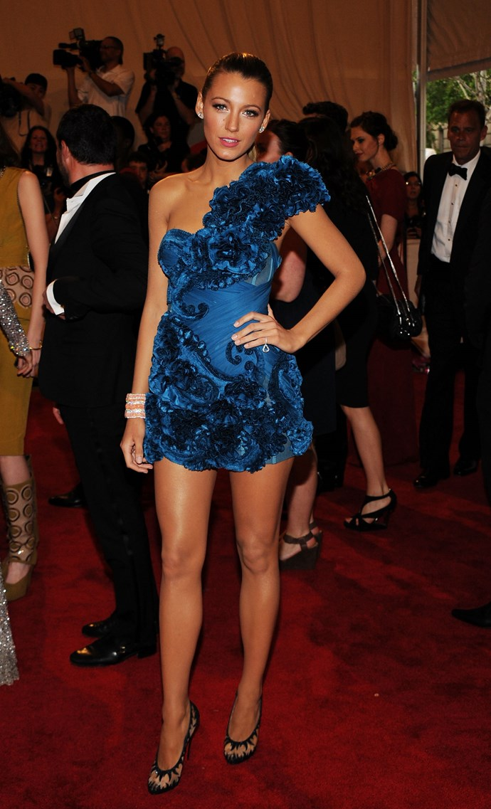 Blake brought her A-game to the MET Gala in 2010, donning this G O R G E O U S blue ensemble.