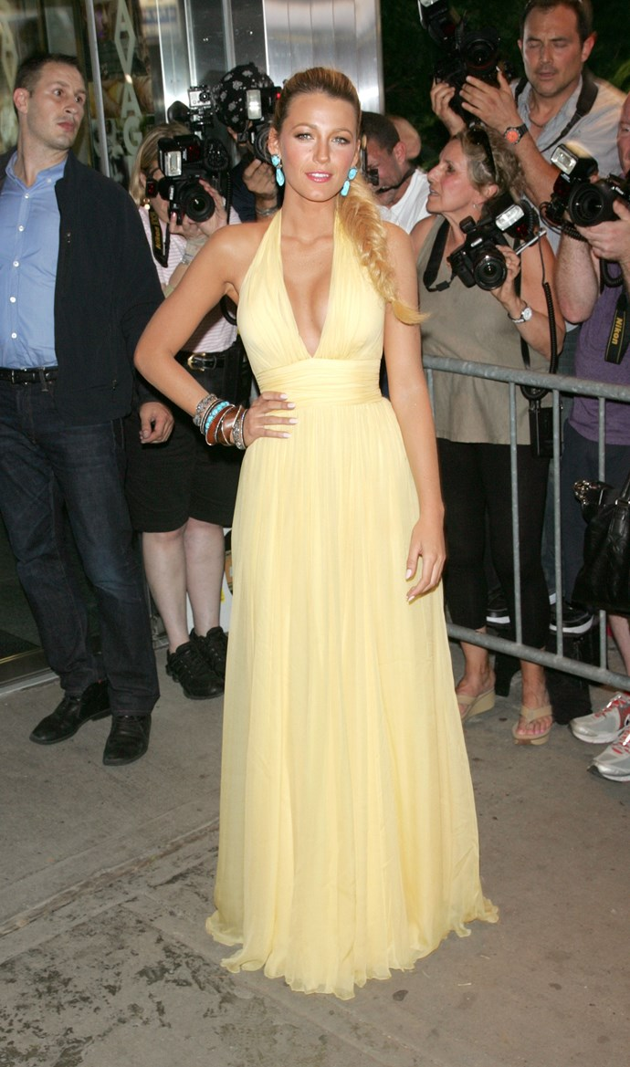 Again in 2012, Blake went for a pretty yellow gown paired with turquioise earrings.