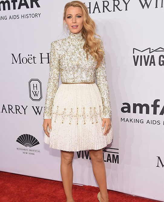 Long sleeves, a high neck and stacks of embroidery: this dress suits Blake to a tee.