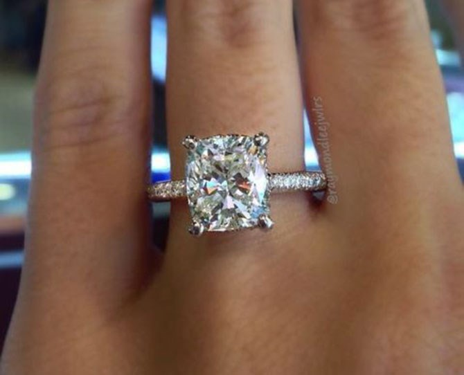 "**3.** Cushion cut ring ([via](http://raymondleejewelers.net/blog/top-10-engagement-ring-cuts/|target=""_blank""))."