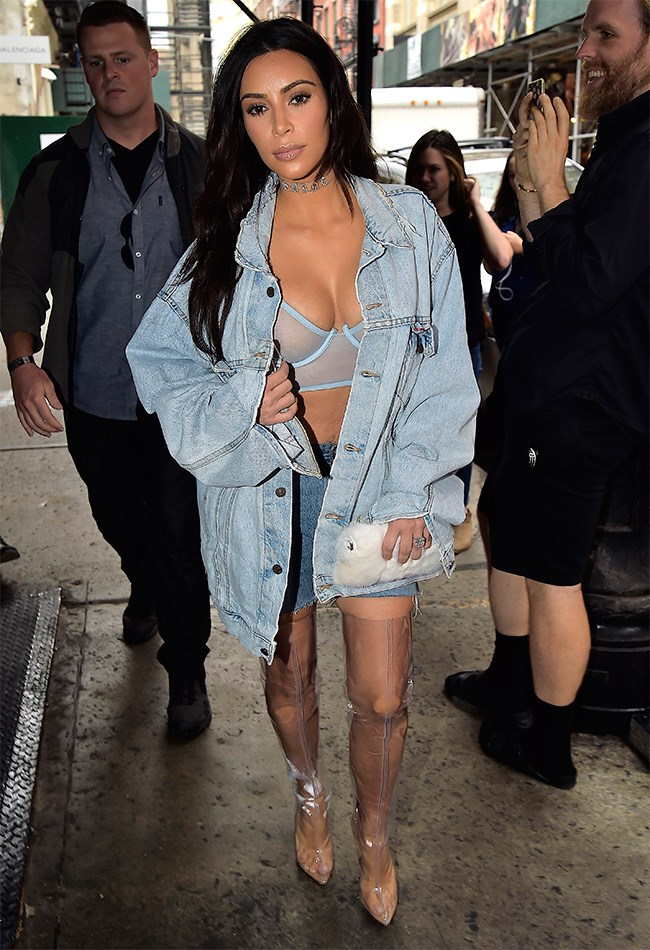 "It's official: Kim Kardashian has hit peak fashion crazy with this double denim-meets Perspex boots-meets diamond choker combo. She was casually strutting down the streets on NYC in the getup on Wednesday September 7, and even [gave the paps and waiting fans a cheeky flash of her nipple](http://www.cosmopolitan.com.au/celebrity/celebrity-gossip/2016/9/kim-kardashians-best-boob-moments/|target=""_blank"") to boot. (Oh, and those boots are YEEZY season four, natch.)"