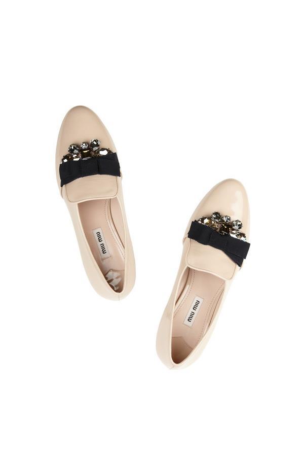 "Loafers, approx $698, Miu Miu, <a href=""http://www.net-a-porter.com/product/379527/Miu_Miu/embellished-patent-leather-loafers"">netaporter.com</a>"