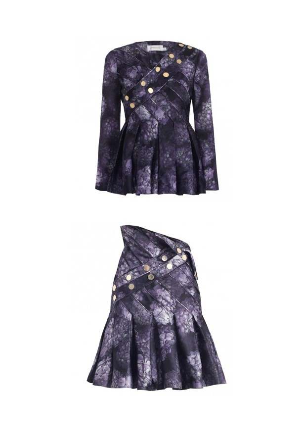 "Top, $850, Zimmermann, <a href=""http://www.zimmermannwear.com/readytowear/clothing/tops/racer-hydrangea-stud-top.html"">zimmermannwear.com </a> and skirt, $1,100, Zimmermann, zimmermannwear.com <a href=""http://www.zimmermannwear.com/racer-hydrangea-stud-skirt-floral.html""></a>"