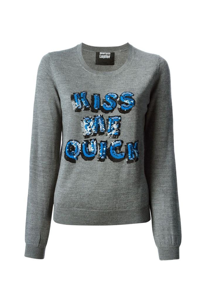 "Sweater, $451, Markus Lupfer, <a href=""http://www.farfetch.com/au/shopping/women/markus-lupfer-sequinned-slogan-sweater-item-10823503.aspx?storeid=9446&ffref=lp_32_ "">farfetch.com</a>"