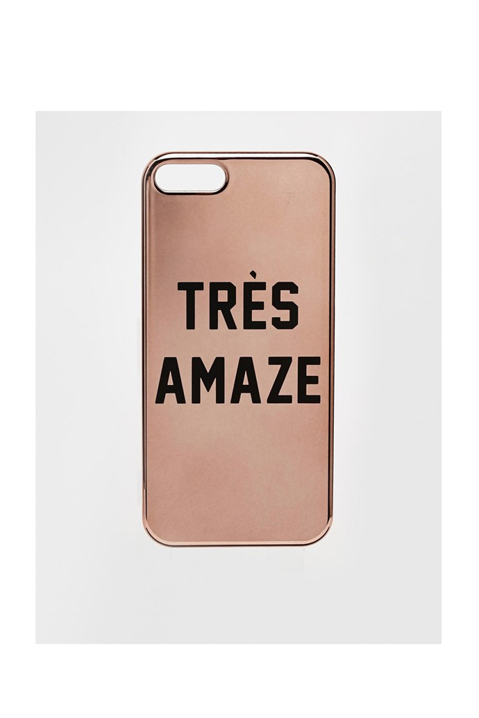 "iPhone 5 case, $15, Asos, <a href=""http://www.asos.com/au/ASOS/ASOS-iPhone-5-Electroplate-Case-With-Tres-Amaze-Slogan/Prod/pgeproduct.aspx?iid=4292469&SearchQuery=slogan&sh=0&pge=1&pgesize=36&sort=-1&clr=Rose+gold&totalstyles=53&gridsize=3 "">asos.com</a>"