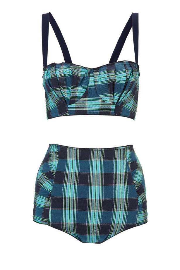 "<strong>Pin-up Vibes:</strong> <br><br> Bikini set, approx $208, Roksanda Ilincic, <a href=""http://www.avenue32.com/row/blue-check-baja-bikini-20401/?productcategoryID=0"">avenue32.com </a>"