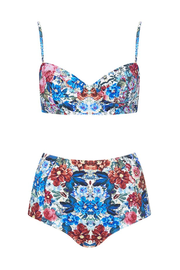 "<strong>Pin-up Vibes:</strong> <br><br> Bikini set, approx $32, Topshop, <a href=""http://www.topshop.com/en/tsuk/product/clothing-427/swimwear-beachwear-3163078/bikini-sets-617/mirror-floral-bikini-set-3147275?refinements=category~%5b209809%7c208534%5d&bi=21&ps=20 "">topshop.com</a>"